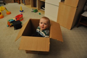 My son prefers boxes to flashing toys.