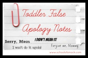 How Does a Toddler Say Sorry: Imagined Toddler Apology Notes
